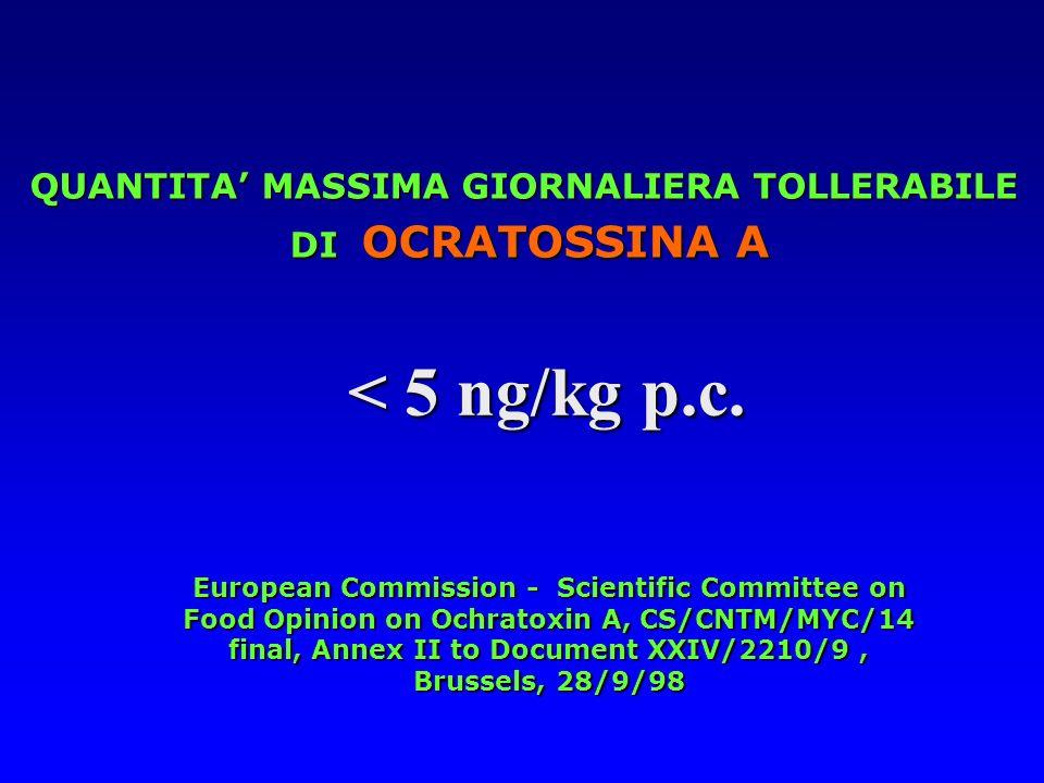 QUANTITA MASSIMA GIORNALIERA TOLLERABILE DI OCRATOSSINA A DI OCRATOSSINA A European Commission - Scientific Committee on Food Opinion on Ochratoxin A,
