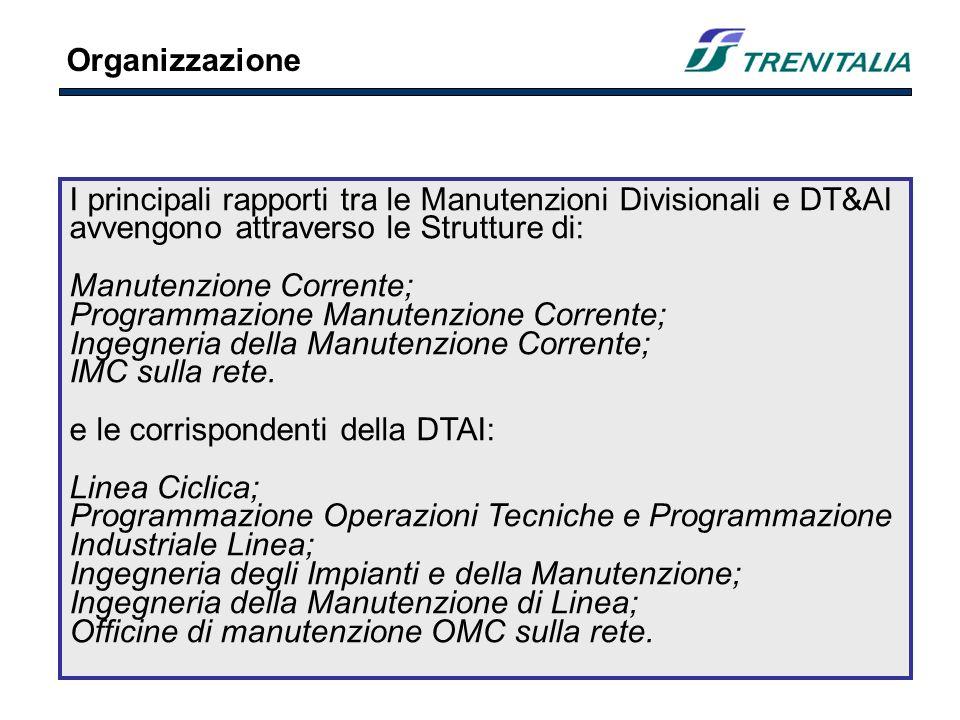 I principali rapporti tra le Manutenzioni Divisionali e DT&AI avvengono attraverso le Strutture di: Manutenzione Corrente; Programmazione Manutenzione Corrente; Ingegneria della Manutenzione Corrente; IMC sulla rete.
