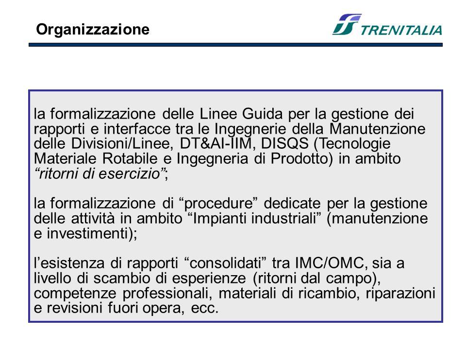 la formalizzazione delle Linee Guida per la gestione dei rapporti e interfacce tra le Ingegnerie della Manutenzione delle Divisioni/Linee, DT&AI-IIM, DISQS (Tecnologie Materiale Rotabile e Ingegneria di Prodotto) in ambito ritorni di esercizio; la formalizzazione di procedure dedicate per la gestione delle attività in ambito Impianti industriali (manutenzione e investimenti); lesistenza di rapporti consolidati tra IMC/OMC, sia a livello di scambio di esperienze (ritorni dal campo), competenze professionali, materiali di ricambio, riparazioni e revisioni fuori opera, ecc.