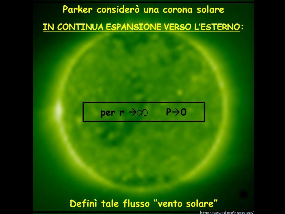 Parker considerò una corona solare IN CONTINUA ESPANSIONE VERSO LESTERNO : per r P 0 Definì tale flusso vento solare http://wwwssl.msfc.nasa.gov/