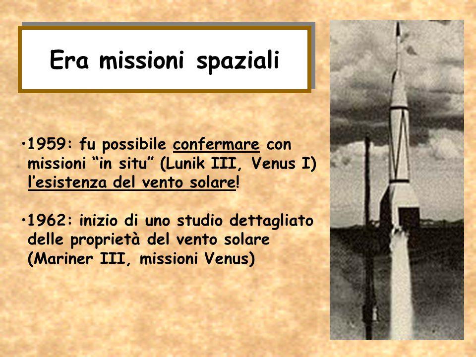 Era missioni spaziali 1959: fu possibile confermare con missioni in situ (Lunik III, Venus I) lesistenza del vento solare! 1962: inizio di uno studio