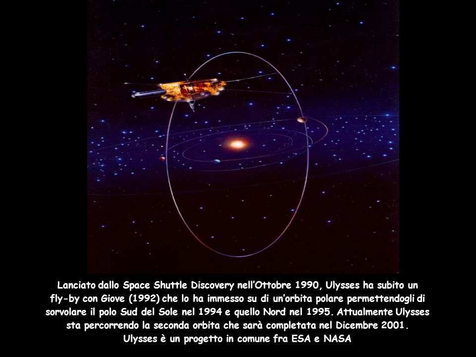 Lanciato dallo Space Shuttle Discovery nellOttobre 1990, Ulysses ha subito un fly-by con Giove (1992) che lo ha immesso su di unorbita polare permette