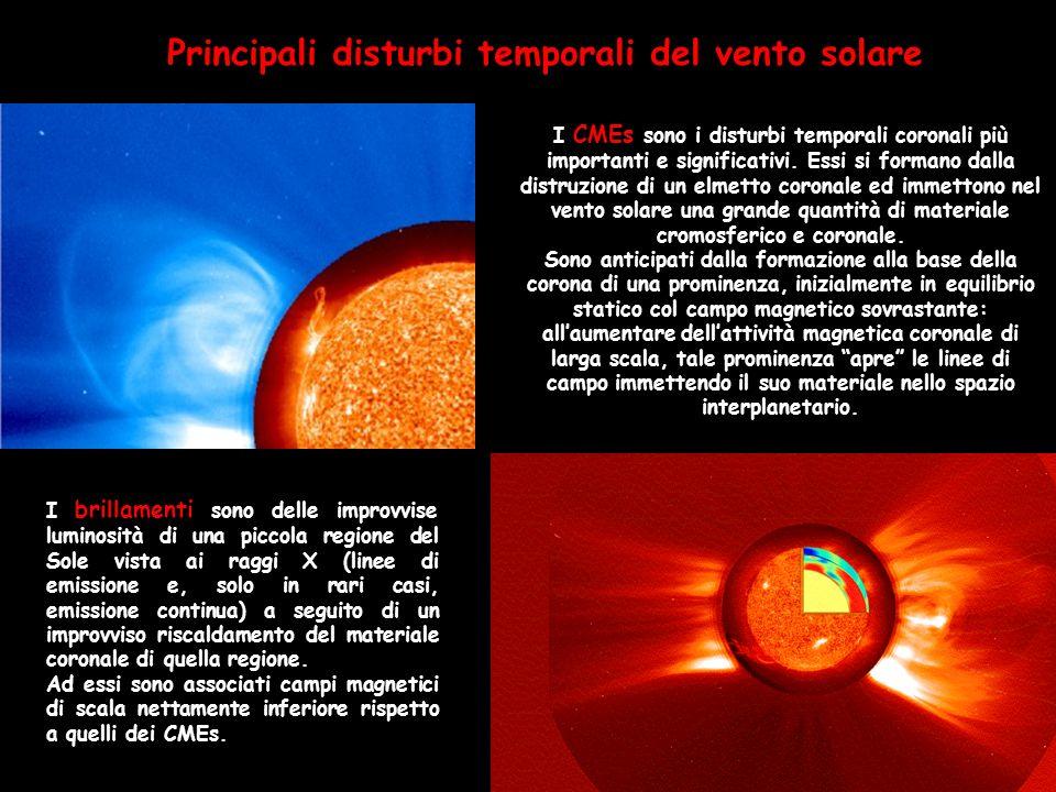 Principali disturbi temporali del vento solare I CMEs sono i disturbi temporali coronali più importanti e significativi. Essi si formano dalla distruz