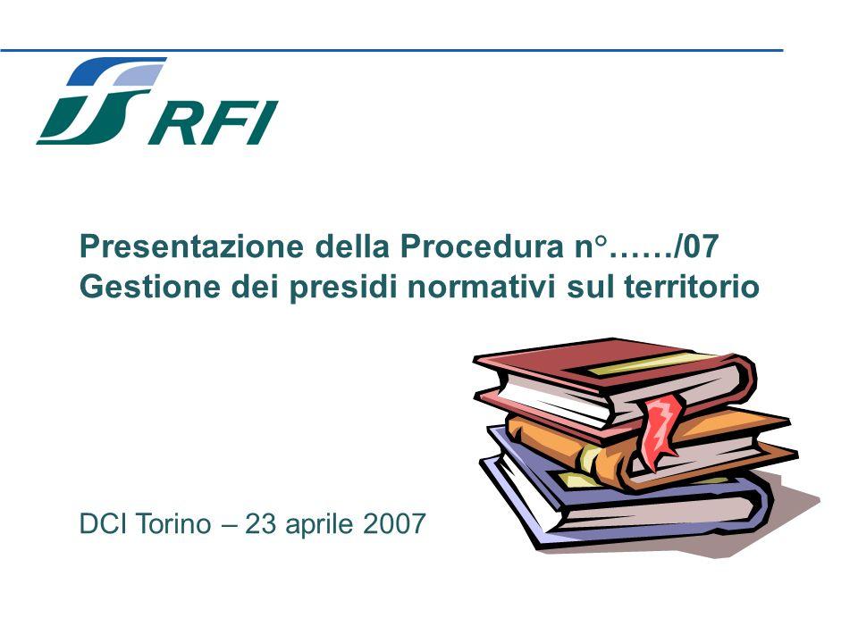 1 Presentazione della Procedura n°……/07 Gestione dei presidi normativi sul territorio DCI Torino – 23 aprile 2007