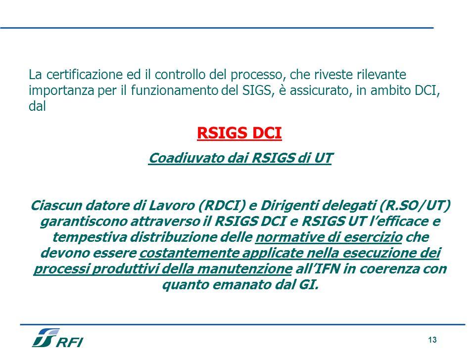 13 La certificazione ed il controllo del processo, che riveste rilevante importanza per il funzionamento del SIGS, è assicurato, in ambito DCI, dal RS