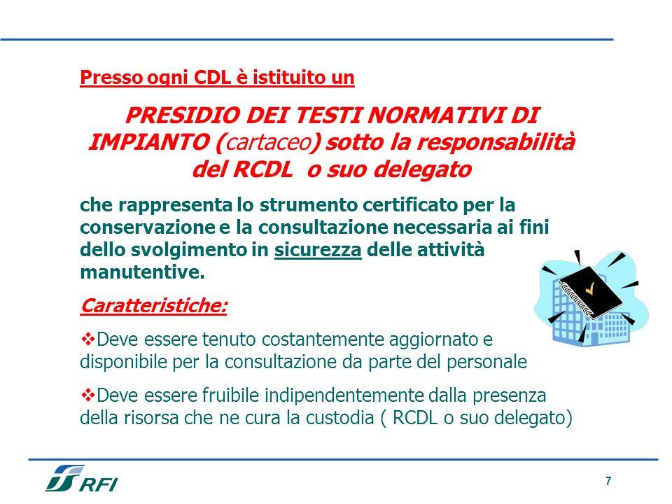7 Presso ogni CDL è istituito un PRESIDIO DEI TESTI NORMATIVI DI IMPIANTO (cartaceo) sotto la responsabilità del RCDL o suo delegato che rappresenta l