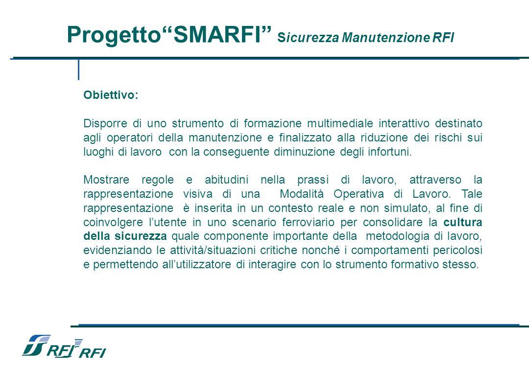 ProgettoSMARFI Sicurezza Manutenzione RFI – Obiettivo: Disporre di uno strumento di formazione multimediale interattivo destinato agli operatori della manutenzione e finalizzato alla riduzione dei rischi sui luoghi di lavoro con la conseguente diminuzione degli infortuni.