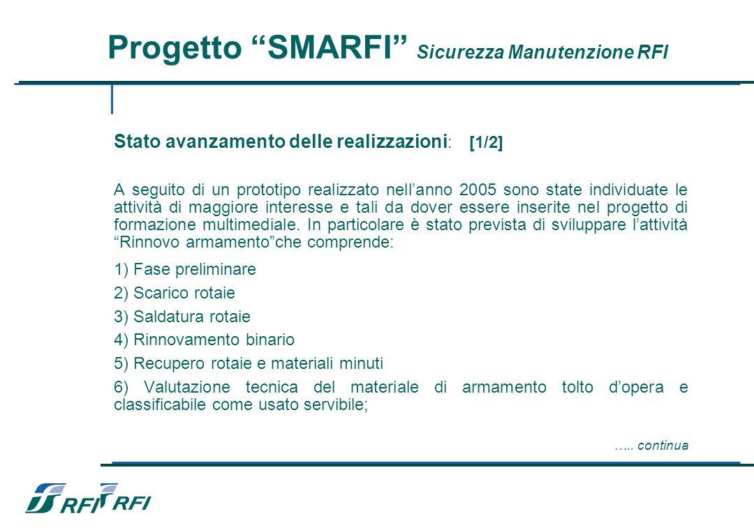 Progetto SMARFI Sicurezza Manutenzione RFI Stato avanzamento delle realizzazioni : [1/2] A seguito di un prototipo realizzato nellanno 2005 sono state individuate le attività di maggiore interesse e tali da dover essere inserite nel progetto di formazione multimediale.