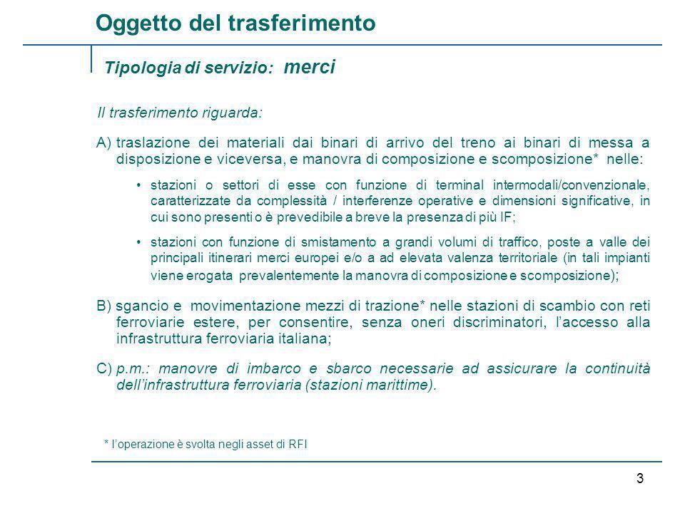 RFI /TRENITALIA 2 Le manovre per /dalle e nelle aree di sosta / manutenzione sono di esclusiva competenza delle IF in quanto proprie del ciclo produttivo; conseguentemente tali manovre verranno effettuate dagli operatori che svolgono lattività principale.