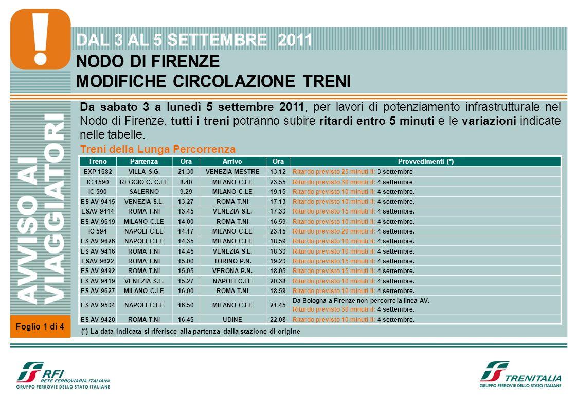 NODO DI FIRENZE MODIFICHE CIRCOLAZIONE TRENI Da sabato 3 a lunedì 5 settembre 2011, per lavori di potenziamento infrastrutturale nel Nodo di Firenze, tutti i treni potranno subire ritardi entro 5 minuti e le variazioni indicate nelle tabelle.