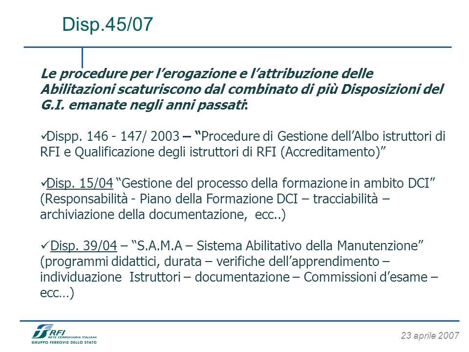 23 aprile 2007 Le procedure per lerogazione e lattribuzione delle Abilitazioni scaturiscono dal combinato di più Disposizioni del G.I. emanate negli a