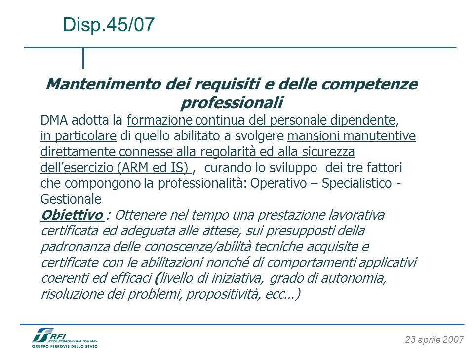 23 aprile 2007 Disp.45/07 Mantenimento dei requisiti e delle competenze professionali DMA adotta la formazione continua del personale dipendente, in p