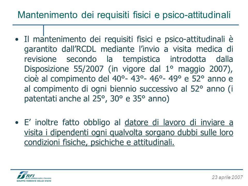 23 aprile 2007 Mantenimento dei requisiti fisici e psico-attitudinali Il mantenimento dei requisiti fisici e psico-attitudinali è garantito dallRCDL m
