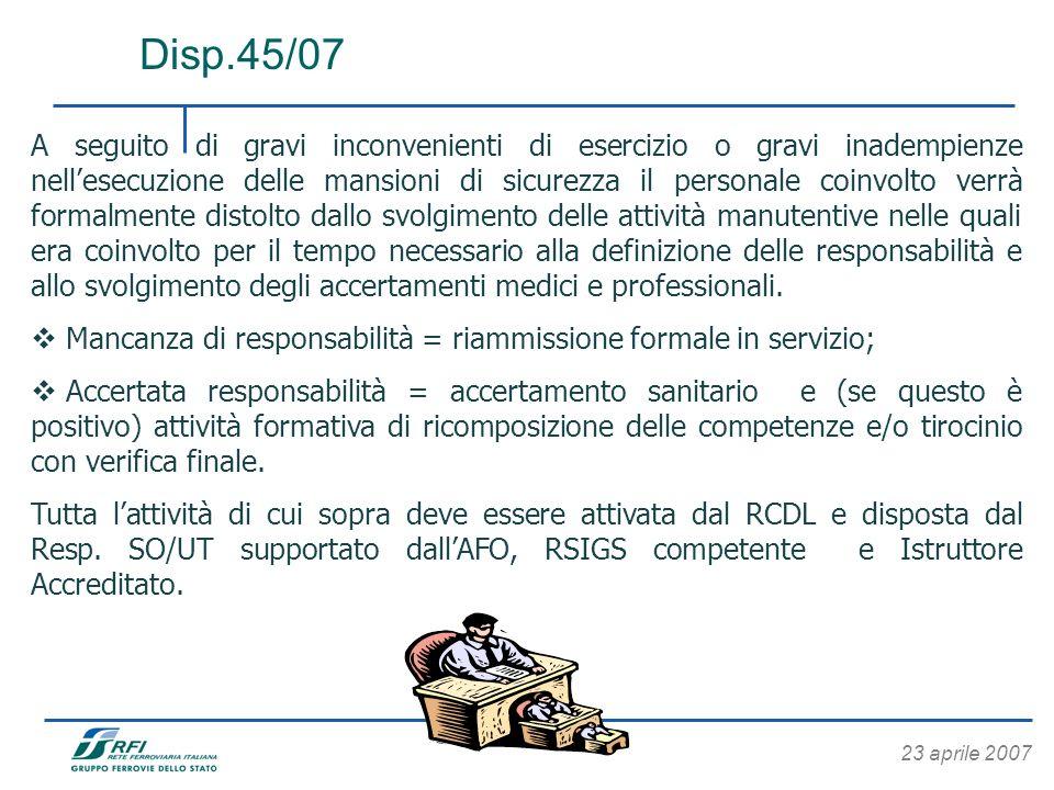 Disp.45/07 A seguito di gravi inconvenienti di esercizio o gravi inadempienze nellesecuzione delle mansioni di sicurezza il personale coinvolto verrà
