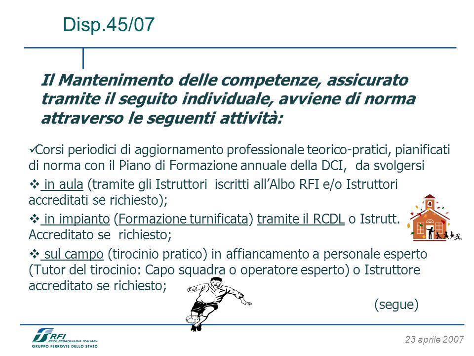 23 aprile 2007 Il Mantenimento delle competenze, assicurato tramite il seguito individuale, avviene di norma attraverso le seguenti attività: Corsi pe