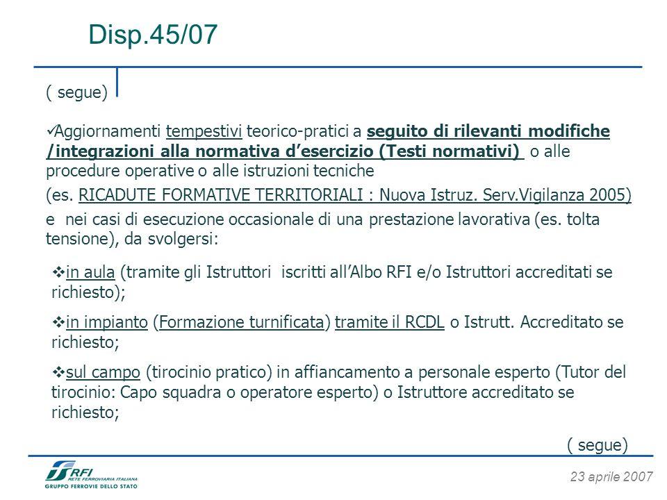 23 aprile 2007 Disp.45/07 ( segue) Aggiornamenti tempestivi teorico-pratici a seguito di rilevanti modifiche /integrazioni alla normativa desercizio (