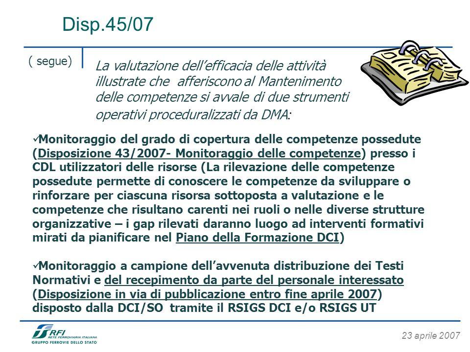 23 aprile 2007 Disp.45/07 ( segue) Monitoraggio del grado di copertura delle competenze possedute (Disposizione 43/2007- Monitoraggio delle competenze