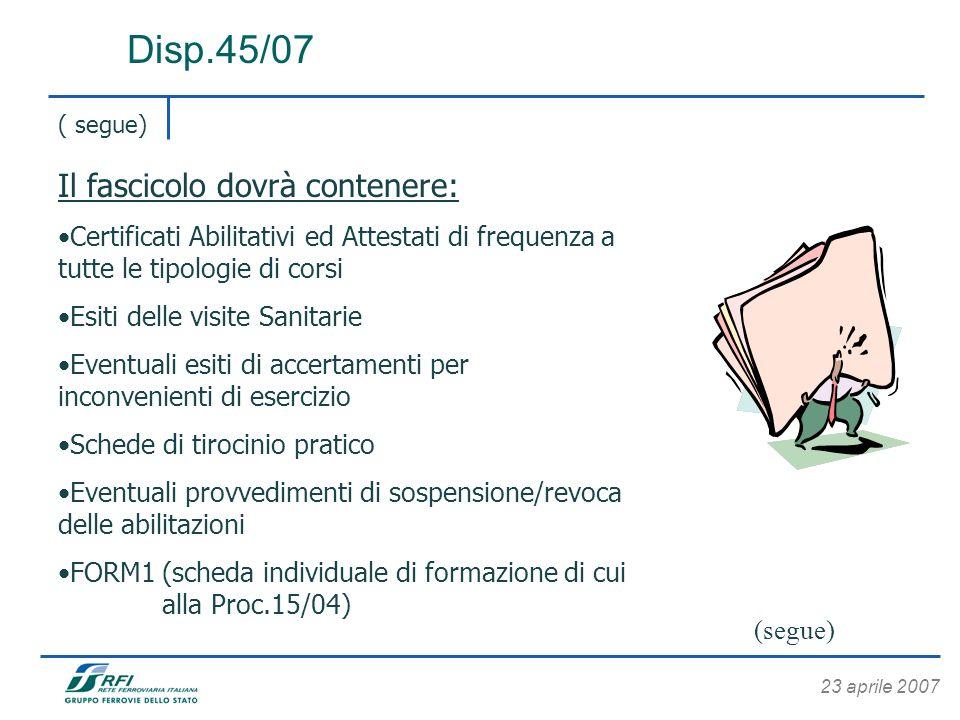 23 aprile 2007 Disp.45/07 ( segue) Il fascicolo dovrà contenere: Certificati Abilitativi ed Attestati di frequenza a tutte le tipologie di corsi Esiti