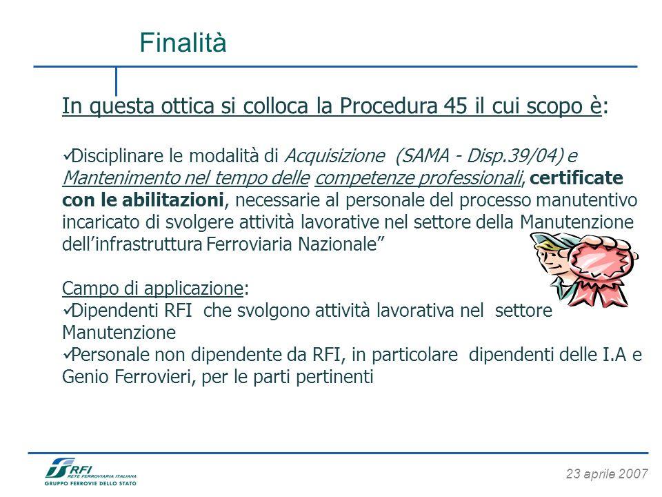23 aprile 2007 In questa ottica si colloca la Procedura 45 il cui scopo è: Disciplinare le modalità di Acquisizione (SAMA - Disp.39/04) e Mantenimento