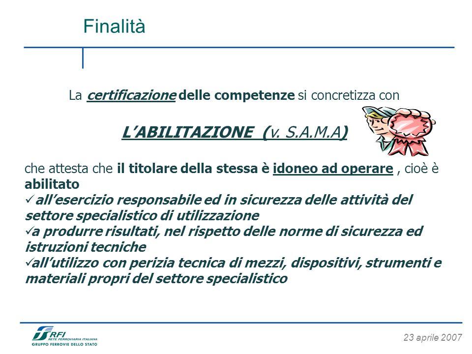 23 aprile 2007 Finalità La certificazione delle competenze si concretizza con LABILITAZIONE (v. S.A.M.A) che attesta che il titolare della stessa è id