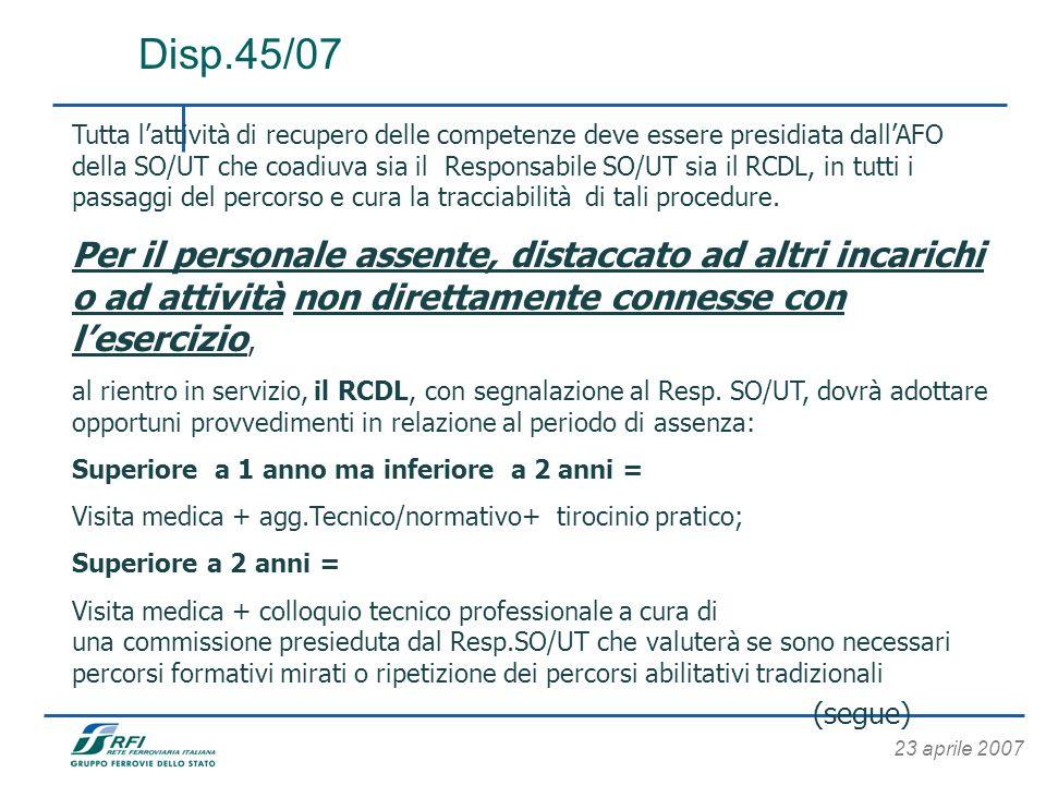 23 aprile 2007 Disp.45/07 Tutta lattività di recupero delle competenze deve essere presidiata dallAFO della SO/UT che coadiuva sia il Responsabile SO/