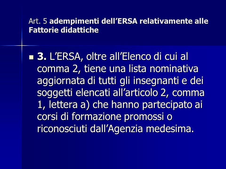 Art. 5 adempimenti dellERSA relativamente alle Fattorie didattiche 3.