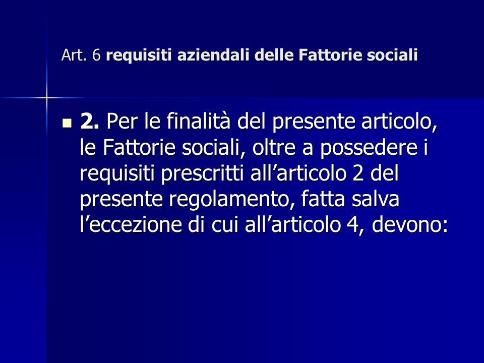 Art. 6 requisiti aziendali delle Fattorie sociali 2.