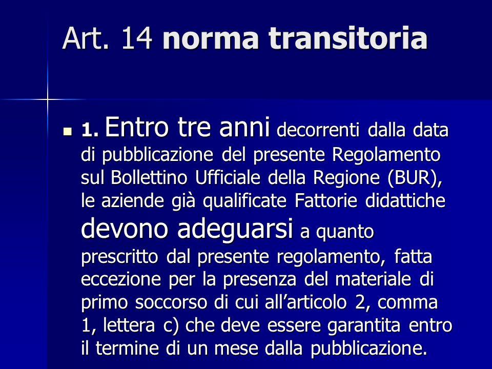 Art.5 adempimenti dellERSA relativamente alle Fattorie didattiche 2.