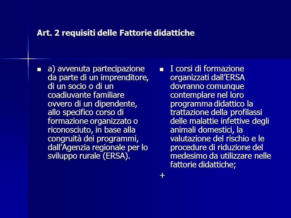 Art. 2 requisiti delle Fattorie didattiche a) avvenuta partecipazione da parte di un imprenditore, di un socio o di un coadiuvante familiare ovvero di