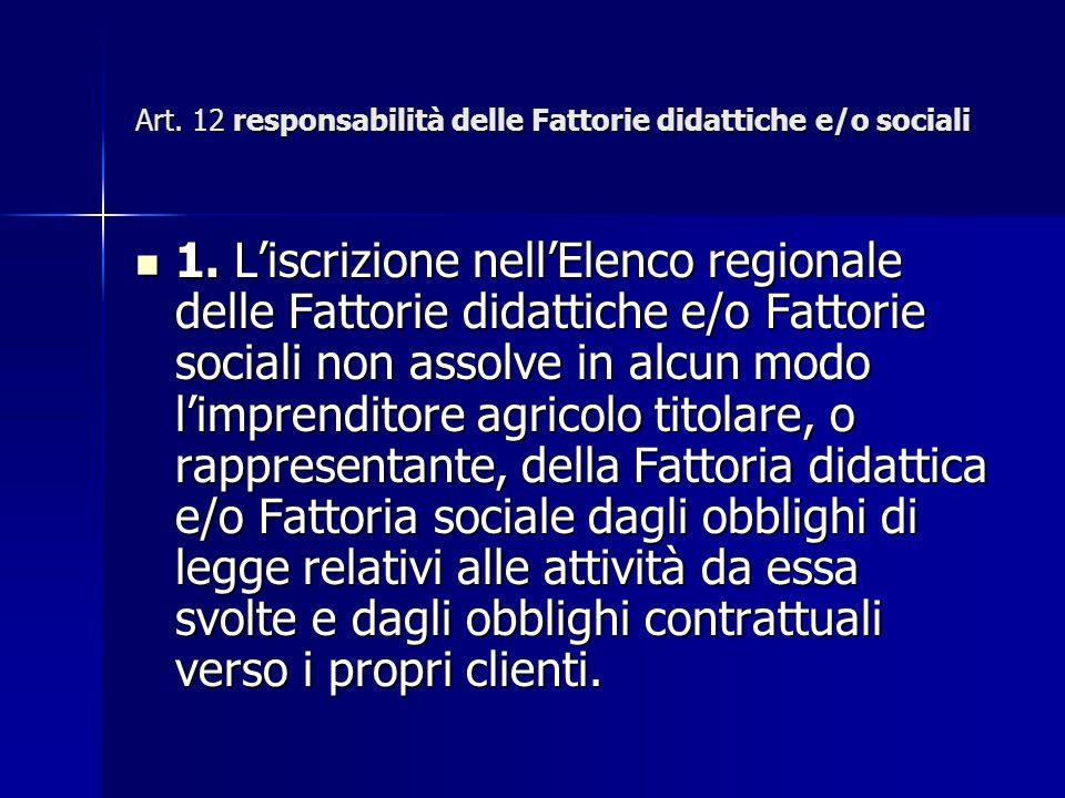 Art. 12 responsabilità delle Fattorie didattiche e/o sociali 1.