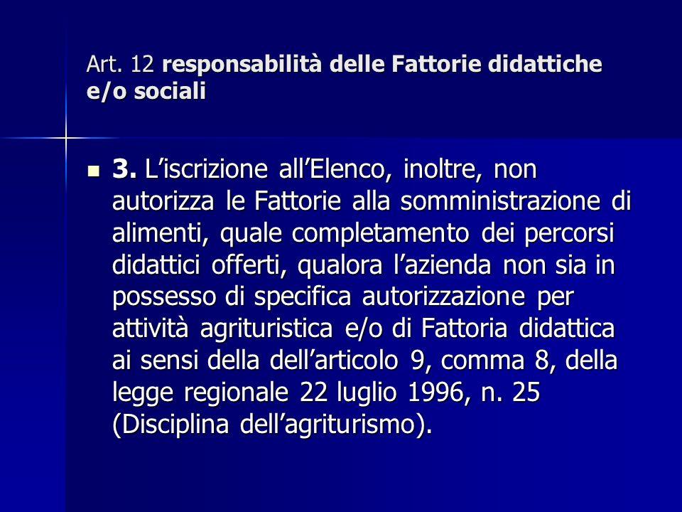 Art. 12 responsabilità delle Fattorie didattiche e/o sociali 3.