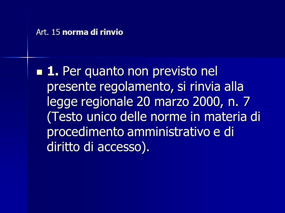 Art. 15 norma di rinvio 1.