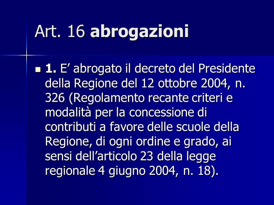 Art. 16 abrogazioni 1. E abrogato il decreto del Presidente della Regione del 12 ottobre 2004, n.
