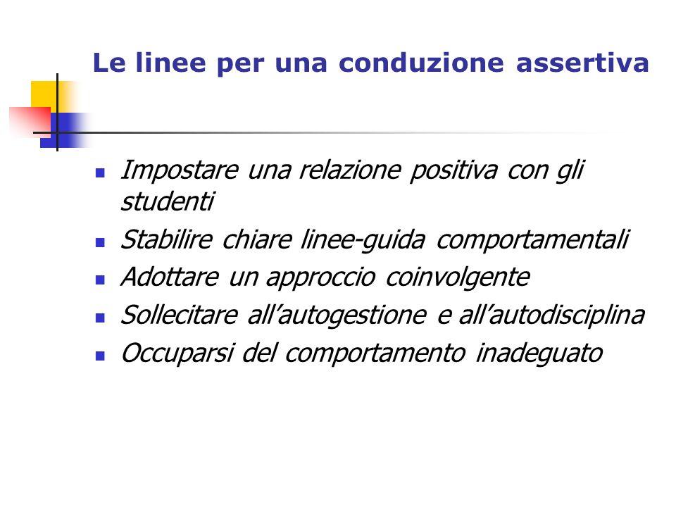 Le linee per una conduzione assertiva Impostare una relazione positiva con gli studenti Stabilire chiare linee-guida comportamentali Adottare un appro