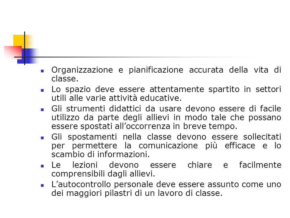 Organizzazione e pianificazione accurata della vita di classe. Lo spazio deve essere attentamente spartito in settori utili alle varie attività educat