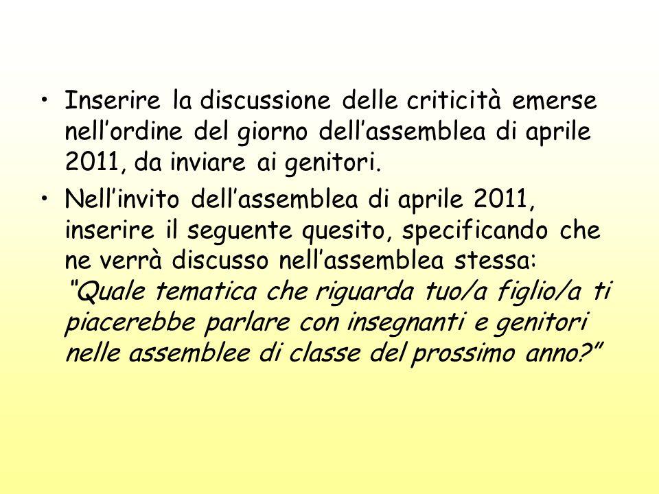 Inserire la discussione delle criticità emerse nellordine del giorno dellassemblea di aprile 2011, da inviare ai genitori.
