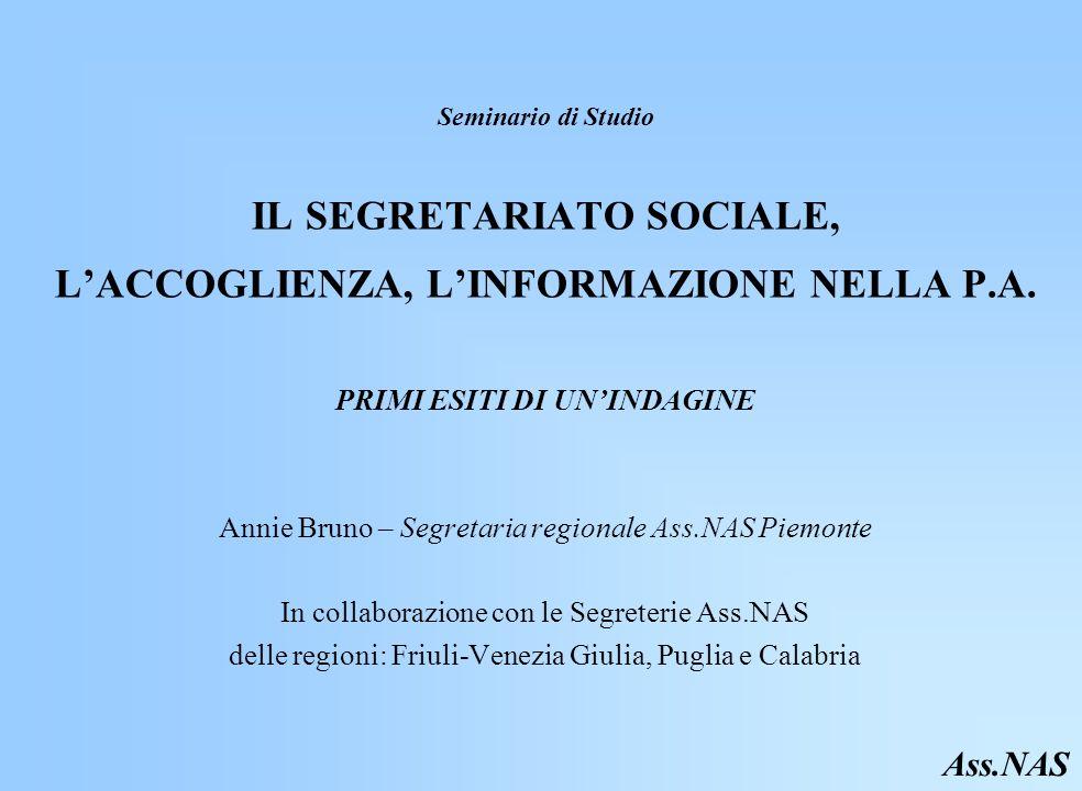 Seminario di Studio IL SEGRETARIATO SOCIALE, LACCOGLIENZA, LINFORMAZIONE NELLA P.A.