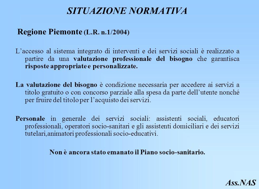 SITUAZIONE NORMATIVA Regione Piemonte (L.R.