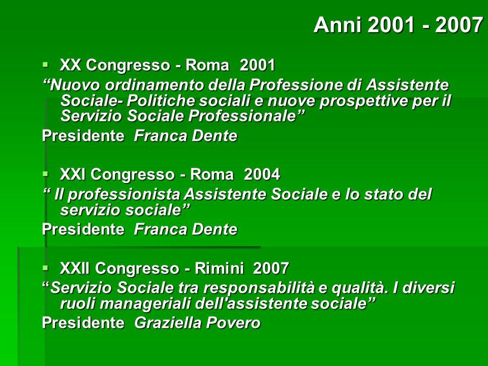XX Congresso - Roma 2001 XX Congresso - Roma 2001 Nuovo ordinamento della Professione di Assistente Sociale- Politiche sociali e nuove prospettive per