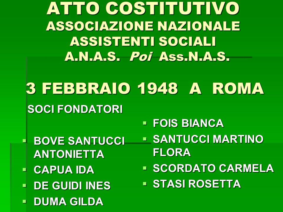 ATTO COSTITUTIVO ASSOCIAZIONE NAZIONALE ASSISTENTI SOCIALI A.N.A.S. Poi Ass.N.A.S. 3 FEBBRAIO 1948 A ROMA SOCI FONDATORI BOVE SANTUCCI ANTONIETTA BOVE