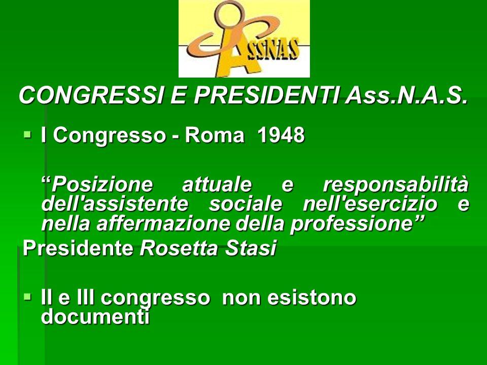 I Congresso - Roma 1948 I Congresso - Roma 1948 Posizione attuale e responsabilità dell'assistente sociale nell'esercizio e nella affermazione della p