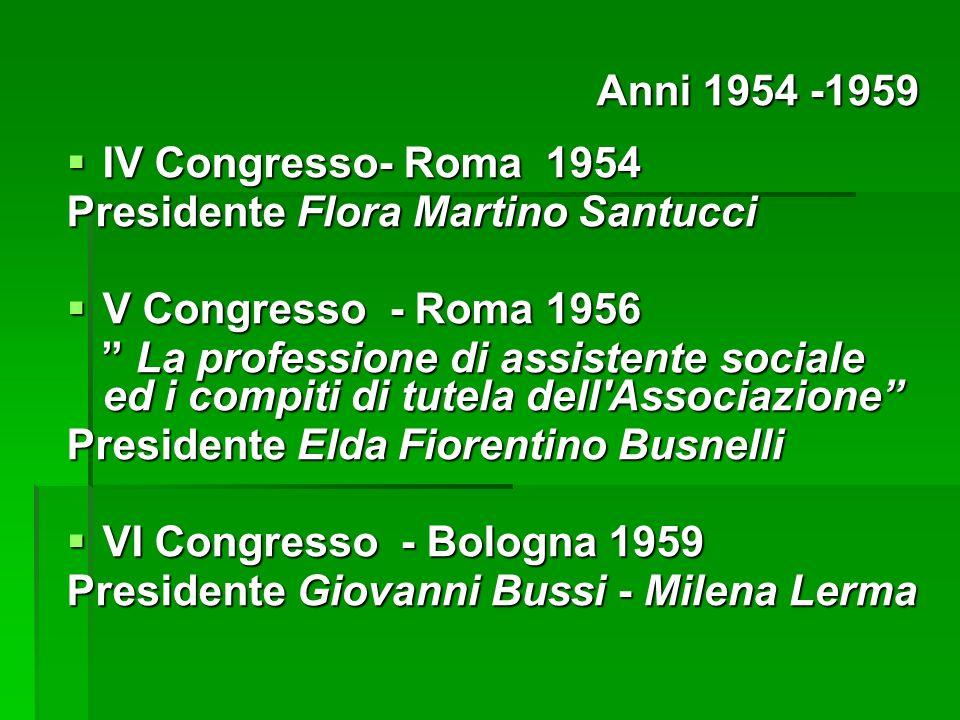 IV Congresso- Roma 1954 IV Congresso- Roma 1954 Presidente Flora Martino Santucci V Congresso - Roma 1956 V Congresso - Roma 1956 La professione di as
