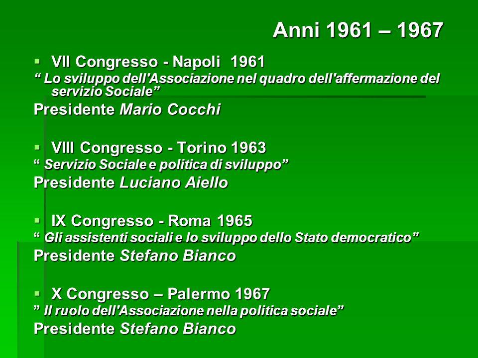 VII Congresso - Napoli 1961 VII Congresso - Napoli 1961 Lo sviluppo dell'Associazione nel quadro dell'affermazione del servizio Sociale Lo sviluppo de