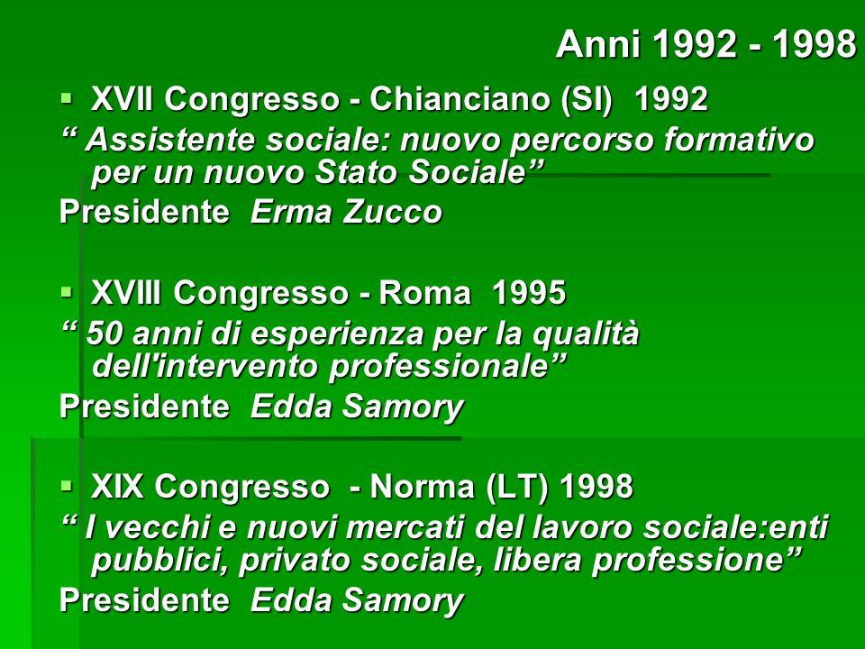 XVII Congresso - Chianciano (SI) 1992 XVII Congresso - Chianciano (SI) 1992 Assistente sociale: nuovo percorso formativo per un nuovo Stato Sociale As