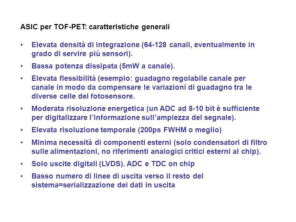 ASIC per TOF-PET: caratteristiche generali Elevata densità di integrazione (64-128 canali, eventualmente in grado di servire più sensori). Bassa poten