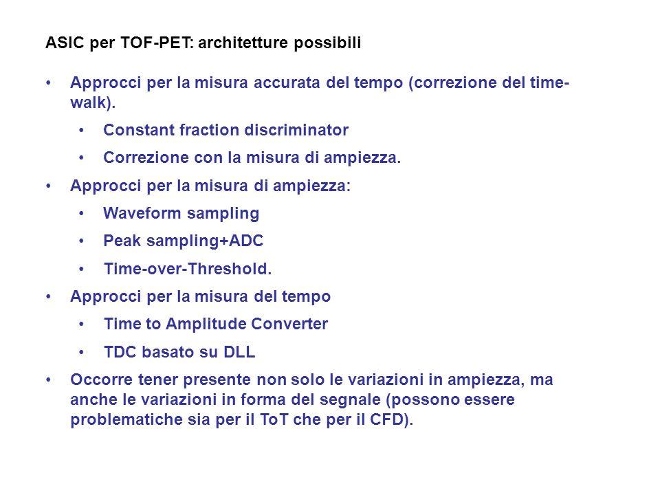 ASIC per TOF-PET: architetture possibili Approcci per la misura accurata del tempo (correzione del time- walk). Constant fraction discriminator Correz