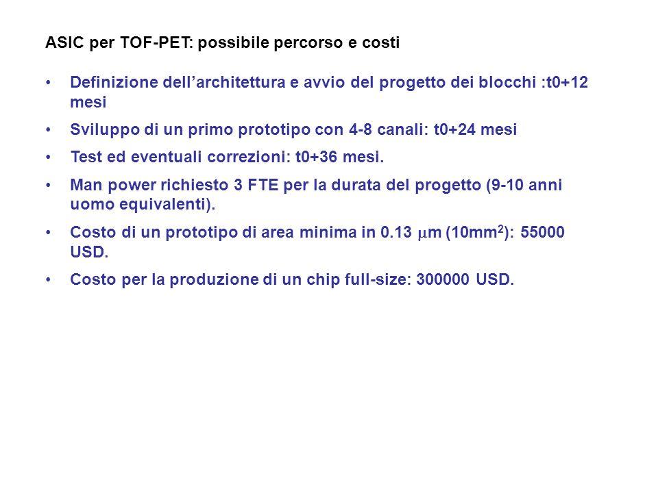 ASIC per TOF-PET: possibile percorso e costi Definizione dellarchitettura e avvio del progetto dei blocchi :t0+12 mesi Sviluppo di un primo prototipo