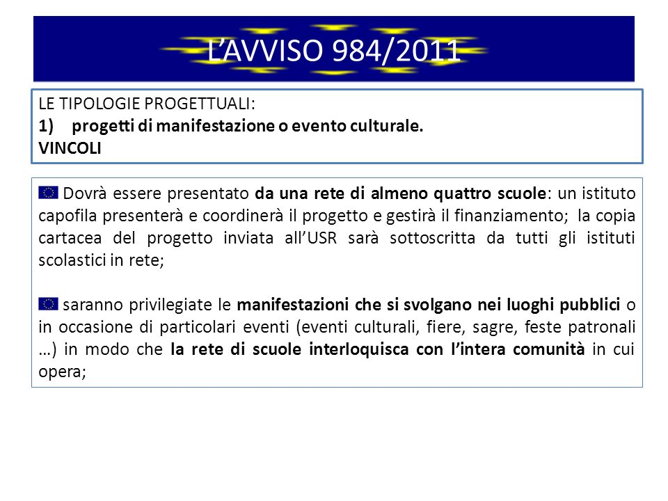 LAVVISO 984/2011 LE TIPOLOGIE PROGETTUALI: 2)progetti di concorso.