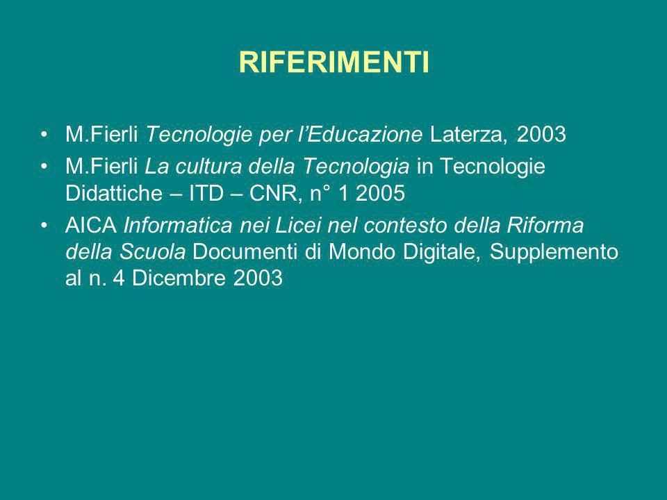RIFERIMENTI M.Fierli Tecnologie per lEducazione Laterza, 2003 M.Fierli La cultura della Tecnologia in Tecnologie Didattiche – ITD – CNR, n° 1 2005 AICA Informatica nei Licei nel contesto della Riforma della Scuola Documenti di Mondo Digitale, Supplemento al n.