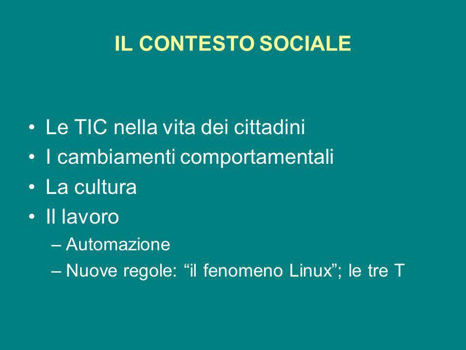 IL CONTESTO SOCIALE Le TIC nella vita dei cittadini I cambiamenti comportamentali La cultura Il lavoro –Automazione –Nuove regole: il fenomeno Linux; le tre T